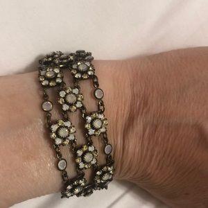 EUC Kenny Ma Crystal Flower Bracelet